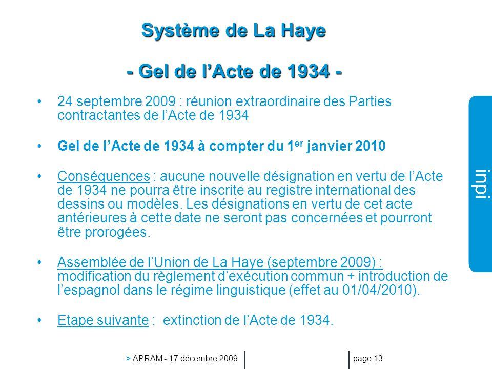 inpi > APRAM - 17 décembre 2009 page 13 Système de La Haye - Gel de lActe de 1934 - 24 septembre 2009 : réunion extraordinaire des Parties contractantes de lActe de 1934 Gel de lActe de 1934 à compter du 1 er janvier 2010 Conséquences : aucune nouvelle désignation en vertu de lActe de 1934 ne pourra être inscrite au registre international des dessins ou modèles.
