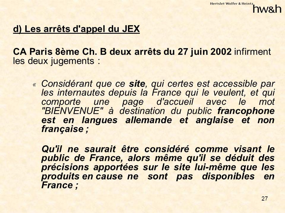 27 d) Les arrêts d appel du JEX CA Paris 8ème Ch.