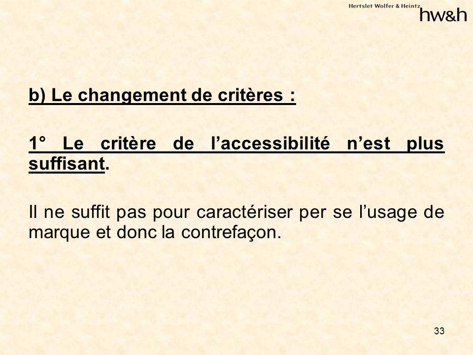 33 b) Le changement de critères : 1° Le critère de laccessibilité nest plus suffisant.