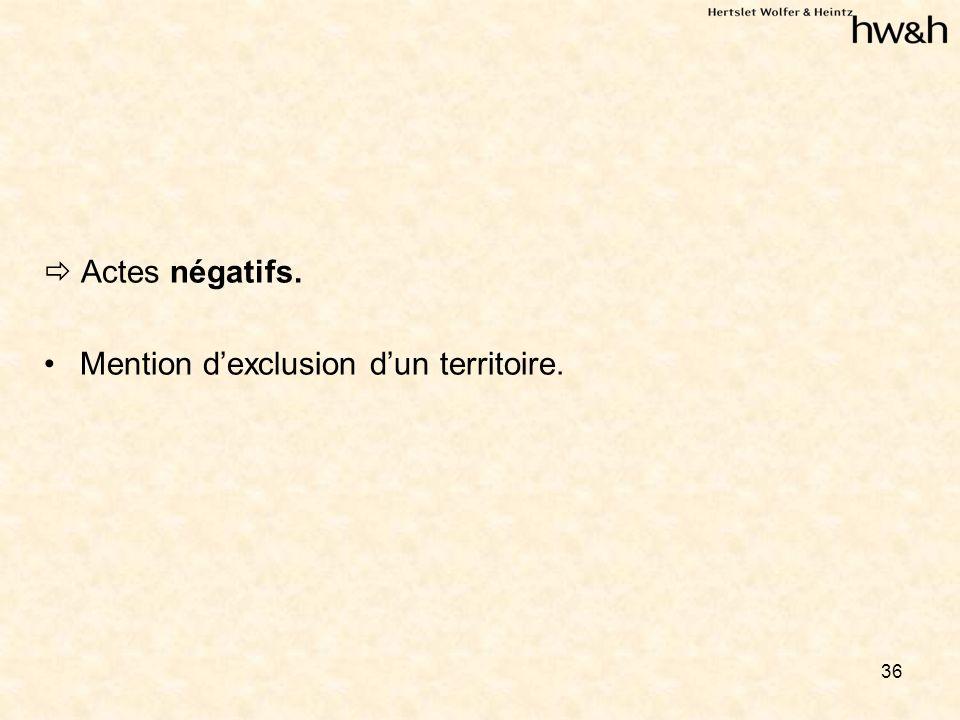 36 Actes négatifs. Mention dexclusion dun territoire.