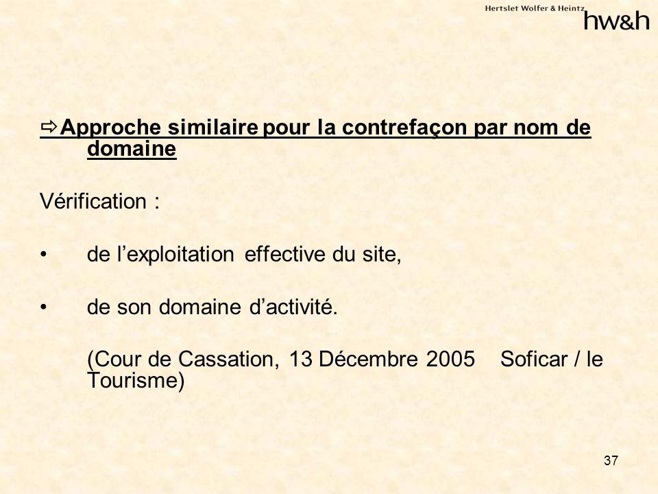 37 Approche similaire pour la contrefaçon par nom de domaine Vérification : de lexploitation effective du site, de son domaine dactivité.