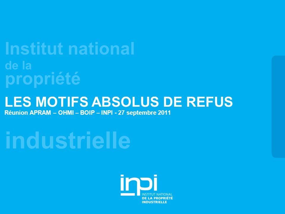 industrielle Institut national de la propriété LES MOTIFS ABSOLUS DE REFUS Réunion APRAM – OHMI – BOIP – INPI - 27 septembre 2011