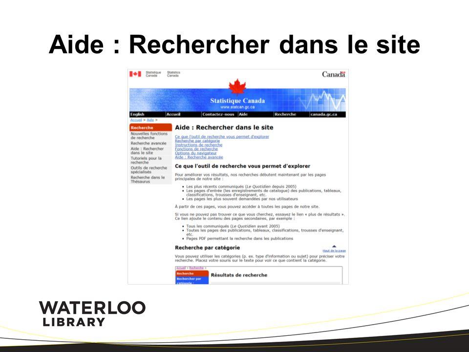 Aide : Rechercher dans le site