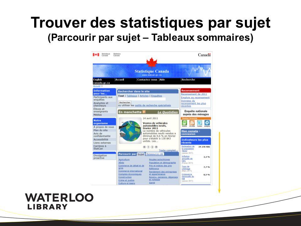 Trouver des statistiques par sujet (Parcourir par sujet – Tableaux sommaires)