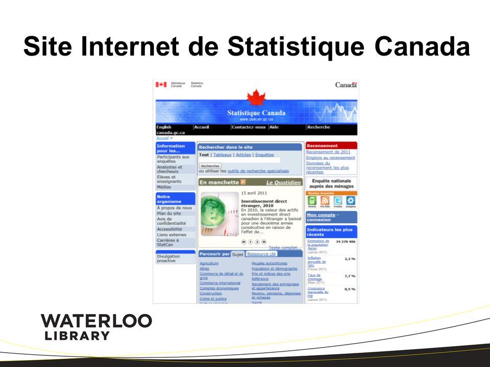 Site Internet de Statistique Canada