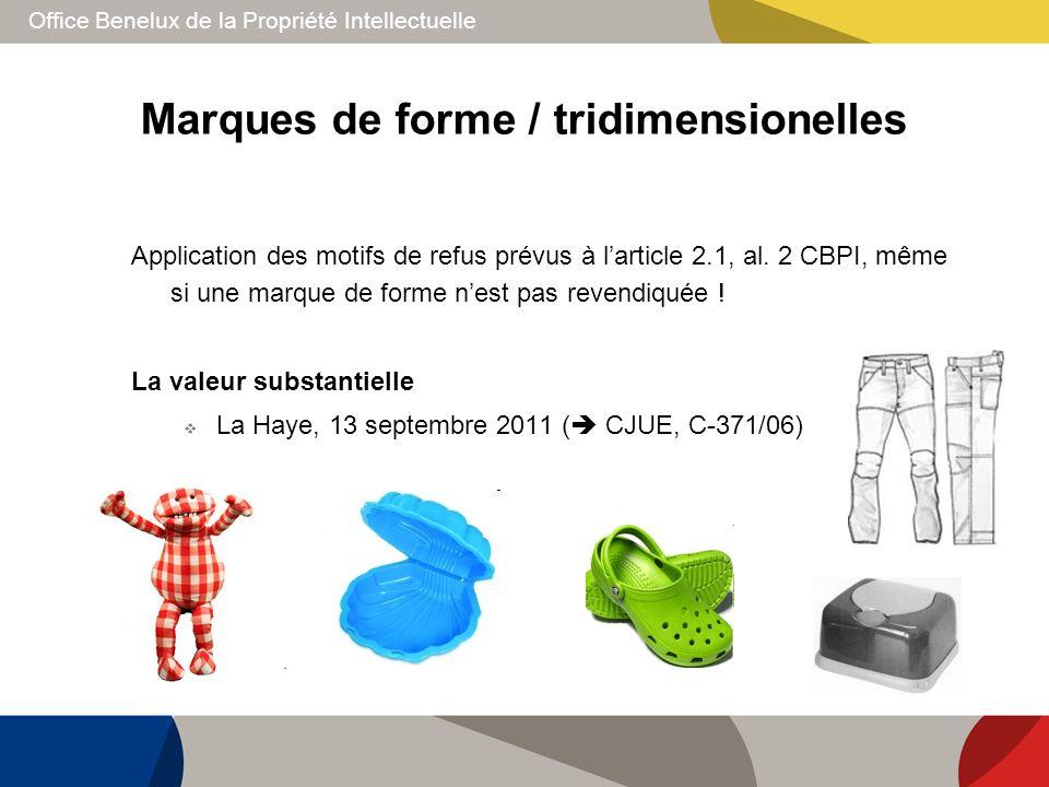 Office Benelux de la Propriété Intellectuelle Marques de forme / tridimensionelles Application des motifs de refus prévus à larticle 2.1, al. 2 CBPI,