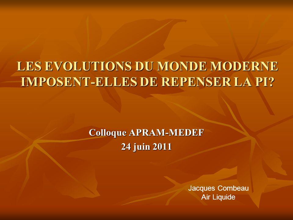 LES EVOLUTIONS DU MONDE MODERNE IMPOSENT-ELLES DE REPENSER LA PI.