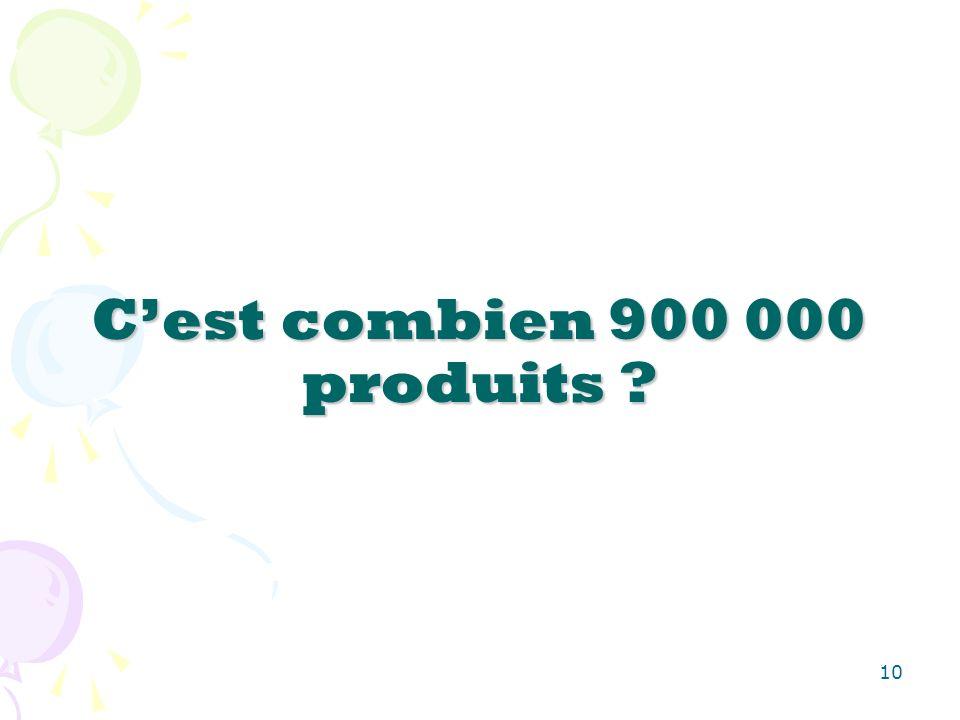 10 Cest combien 900 000 produits ?