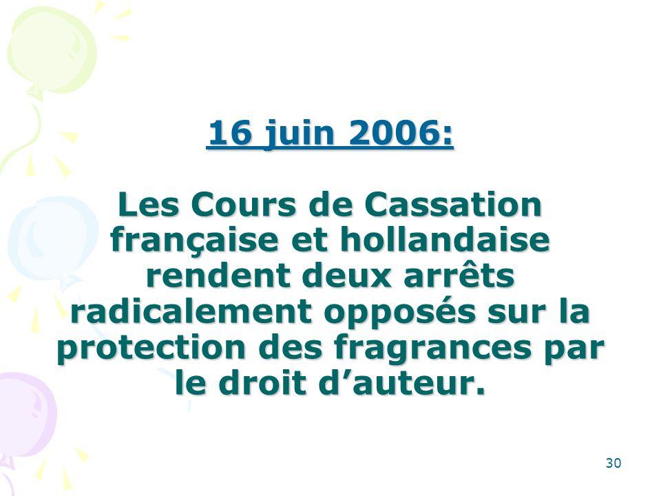 30 16 juin 2006: Les Cours de Cassation française et hollandaise rendent deux arrêts radicalement opposés sur la protection des fragrances par le droit dauteur.