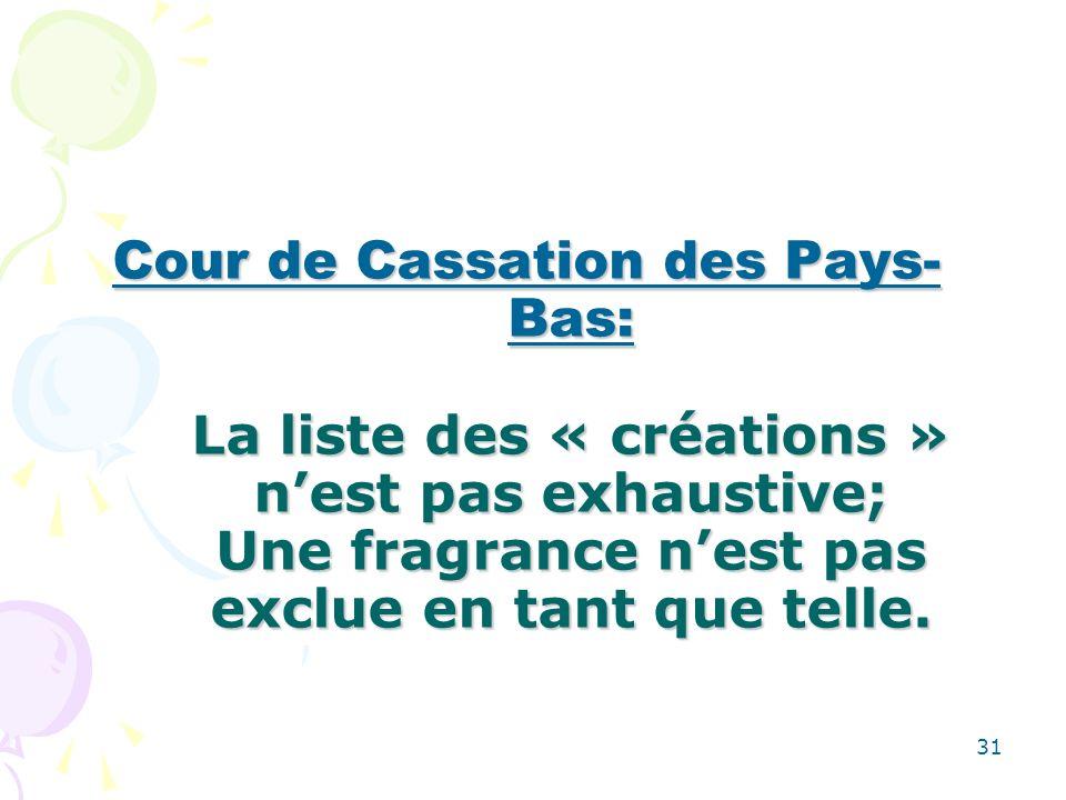 31 Cour de Cassation des Pays- Bas: La liste des « créations » nest pas exhaustive; Une fragrance nest pas exclue en tant que telle.