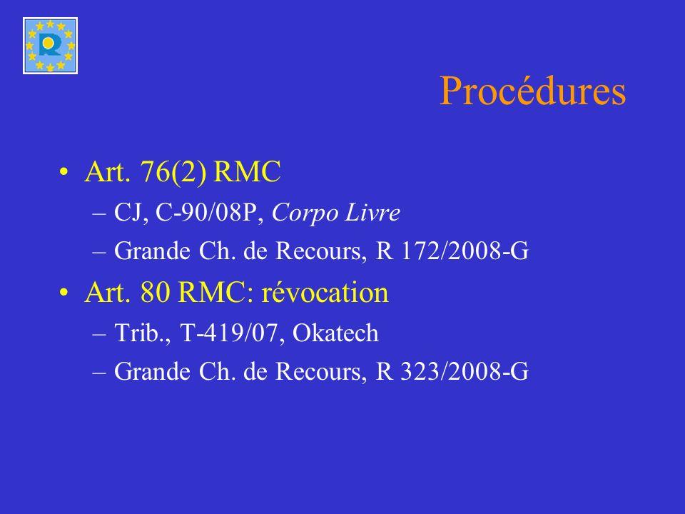 Procédures Art. 76(2) RMC –CJ, C-90/08P, Corpo Livre –Grande Ch.
