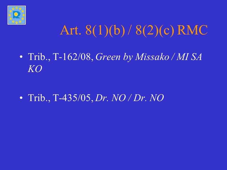 Art. 8(1)(b) / 8(2)(c) RMC Trib., T-162/08, Green by Missako / MI SA KO Trib., T-435/05, Dr.