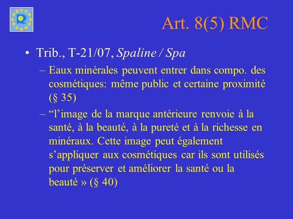 Art. 8(5) RMC Trib., T-21/07, Spaline / Spa –Eaux minérales peuvent entrer dans compo.