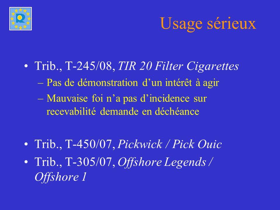 Usage sérieux Trib., T-245/08, TIR 20 Filter Cigarettes –Pas de démonstration dun intérêt à agir –Mauvaise foi na pas dincidence sur recevabilité demande en déchéance Trib., T-450/07, Pickwick / Pick Ouic Trib., T-305/07, Offshore Legends / Offshore 1