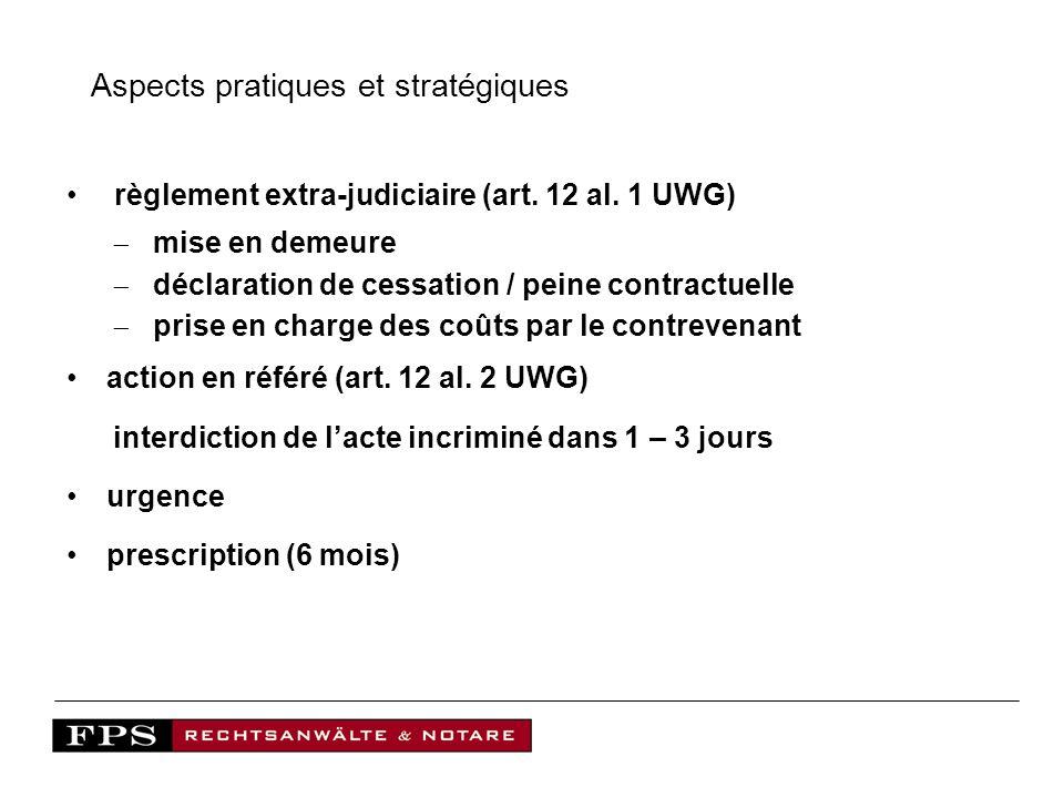 Aspects pratiques et stratégiques règlement extra-judiciaire (art. 12 al. 1 UWG) mise en demeure déclaration de cessation / peine contractuelle prise