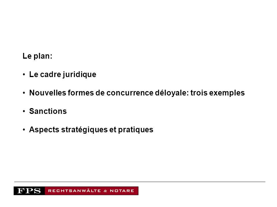 Le cadre juridique Code sur la concurrence déloyale (UWG) Structure Art.