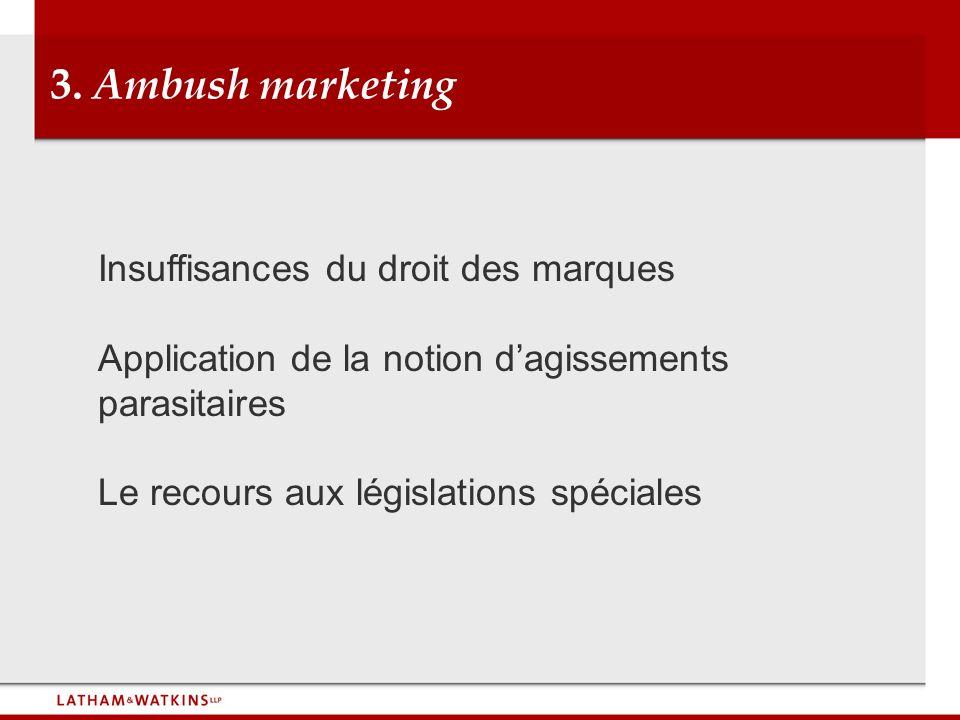 3. Ambush marketing Insuffisances du droit des marques Application de la notion dagissements parasitaires Le recours aux législations spéciales