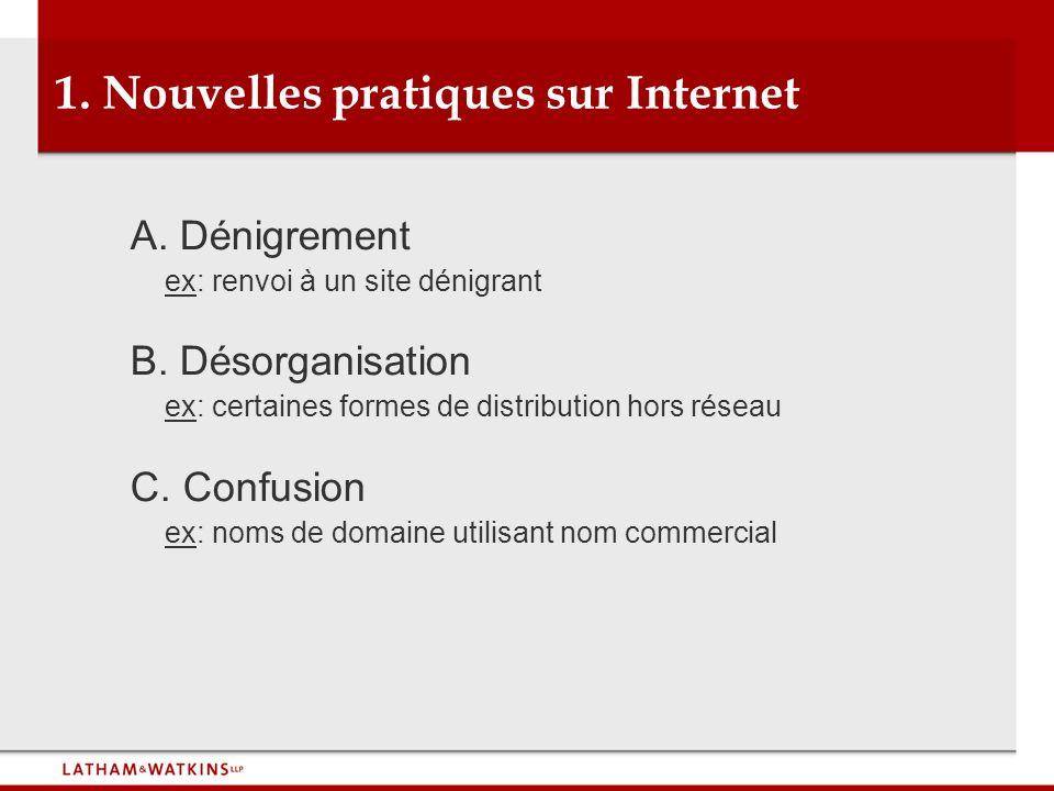 1. Nouvelles pratiques sur Internet A. Dénigrement ex: renvoi à un site dénigrant B. Désorganisation ex: certaines formes de distribution hors réseau