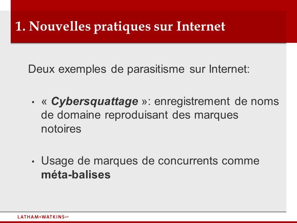 1. Nouvelles pratiques sur Internet Deux exemples de parasitisme sur Internet: « Cybersquattage »: enregistrement de noms de domaine reproduisant des