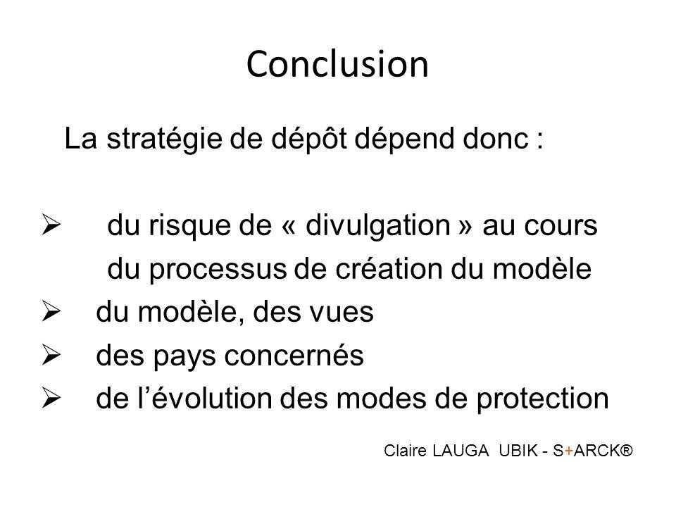 Conclusion La stratégie de dépôt dépend donc : du risque de « divulgation » au cours du processus de création du modèle du modèle, des vues des pays c