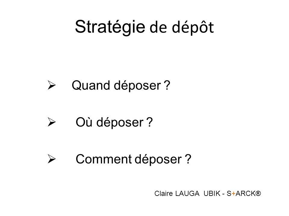 Stratégie de dépôt Quand déposer ? Où déposer ? Comment déposer ? Claire LAUGA UBIK - S+ARCK®