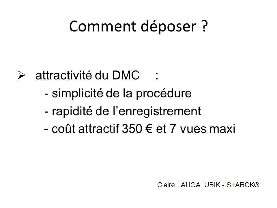 Comment déposer ? attractivité du DMC: - simplicité de la procédure - rapidité de lenregistrement - coût attractif 350 et 7 vues maxi Claire LAUGA UBI