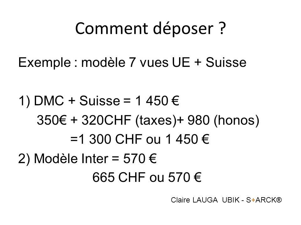 Comment déposer ? Exemple : modèle 7 vues UE + Suisse 1) DMC + Suisse = 1 450 350 + 320CHF (taxes)+ 980 (honos) =1 300 CHF ou 1 450 2) Modèle Inter =