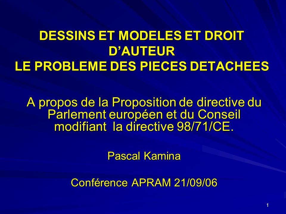 1 DESSINS ET MODELES ET DROIT DAUTEUR LE PROBLEME DES PIECES DETACHEES A propos de la Proposition de directive du Parlement européen et du Conseil modifiant la directive 98/71/CE.