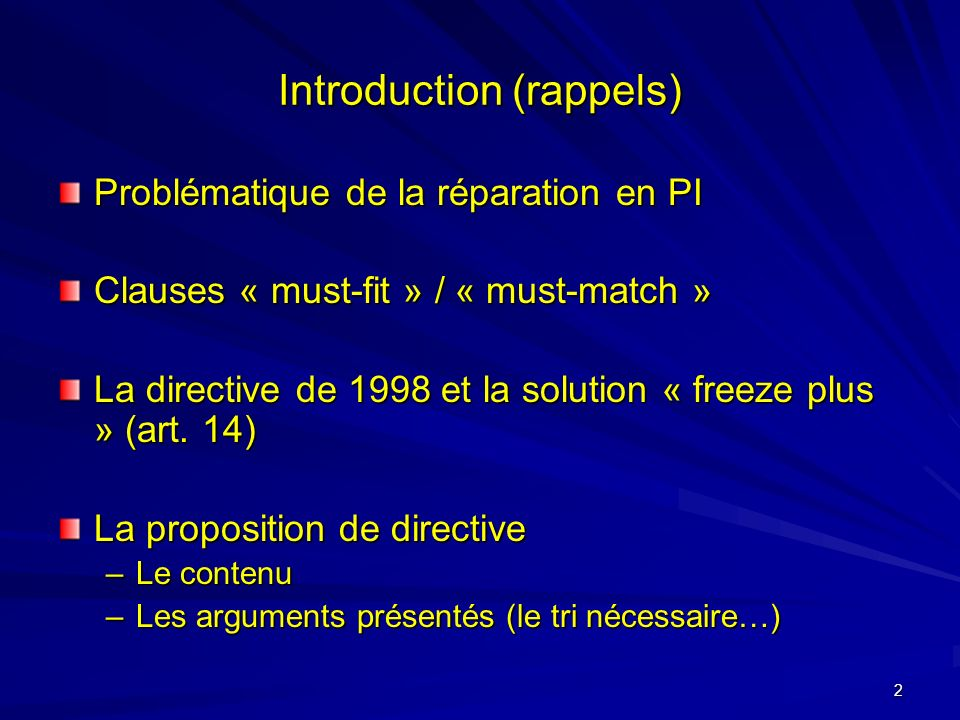 2 Introduction (rappels) Problématique de la réparation en PI Clauses « must-fit » / « must-match » La directive de 1998 et la solution « freeze plus » (art.