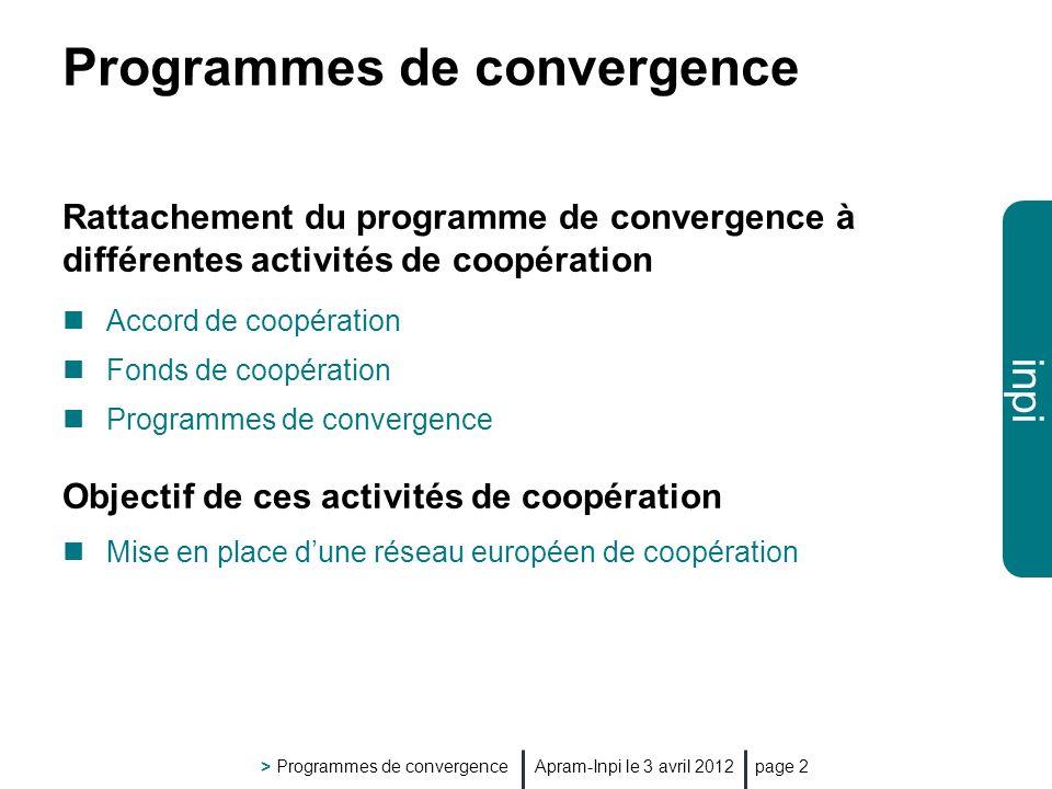 inpi Apram-Inpi le 3 avril 2012 > Programmes de convergence page 2 Programmes de convergence Rattachement du programme de convergence à différentes activités de coopération Accord de coopération Fonds de coopération Programmes de convergence Objectif de ces activités de coopération Mise en place dune réseau européen de coopération
