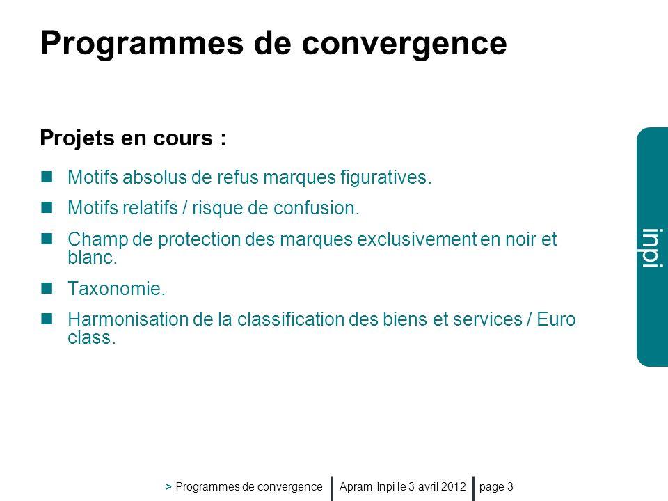inpi Apram-Inpi le 3 avril 2012 > Programmes de convergence page 3 Programmes de convergence Projets en cours : Motifs absolus de refus marques figuratives.