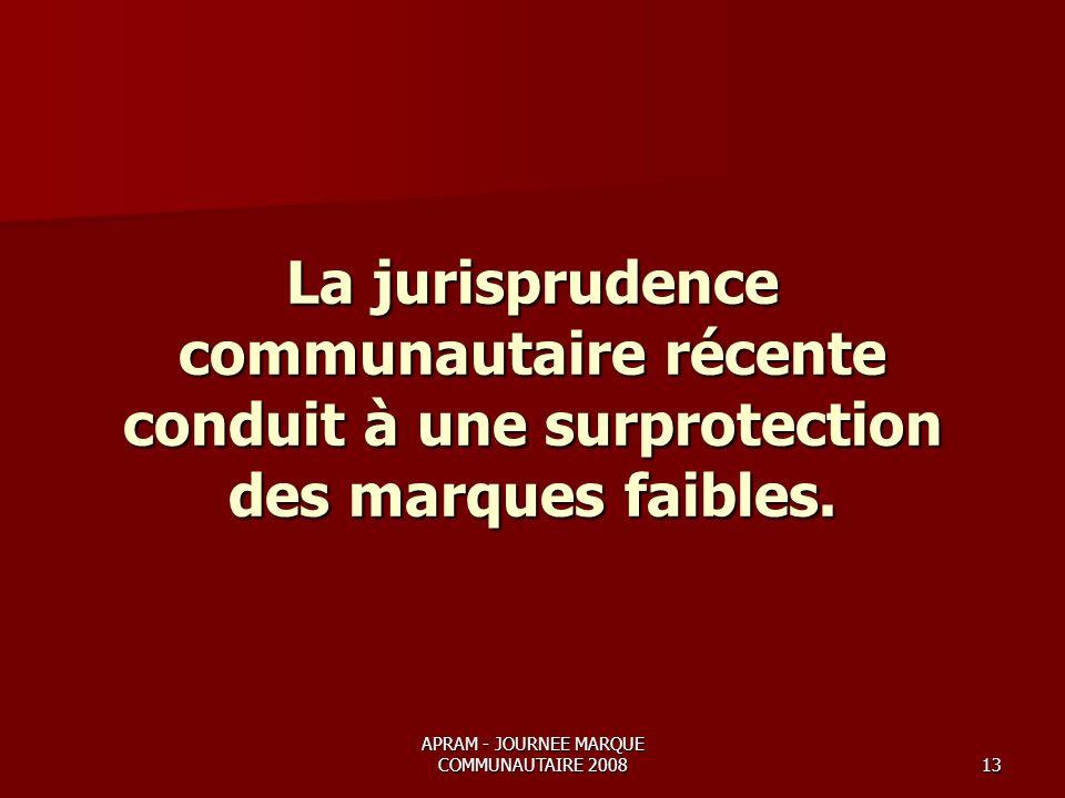APRAM - JOURNEE MARQUE COMMUNAUTAIRE 200813 La jurisprudence communautaire récente conduit à une surprotection des marques faibles.