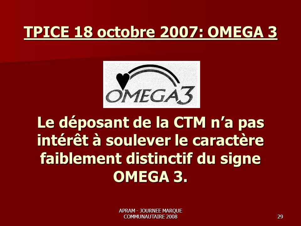 APRAM - JOURNEE MARQUE COMMUNAUTAIRE 200829 TPICE 18 octobre 2007: OMEGA 3 Le déposant de la CTM na pas intérêt à soulever le caractère faiblement distinctif du signe OMEGA 3.