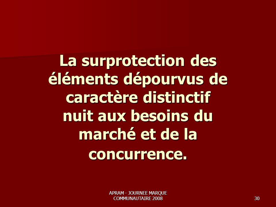 APRAM - JOURNEE MARQUE COMMUNAUTAIRE 200830 La surprotection des éléments dépourvus de caractère distinctif nuit aux besoins du marché et de la concurrence.