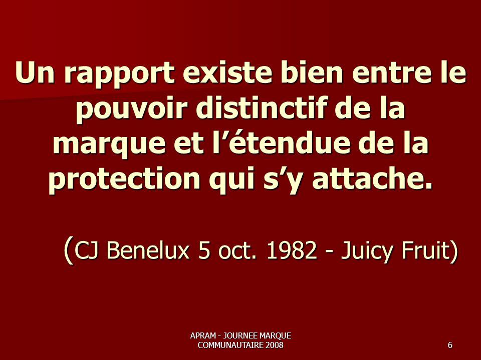APRAM - JOURNEE MARQUE COMMUNAUTAIRE 20086 Un rapport existe bien entre le pouvoir distinctif de la marque et létendue de la protection qui sy attache.