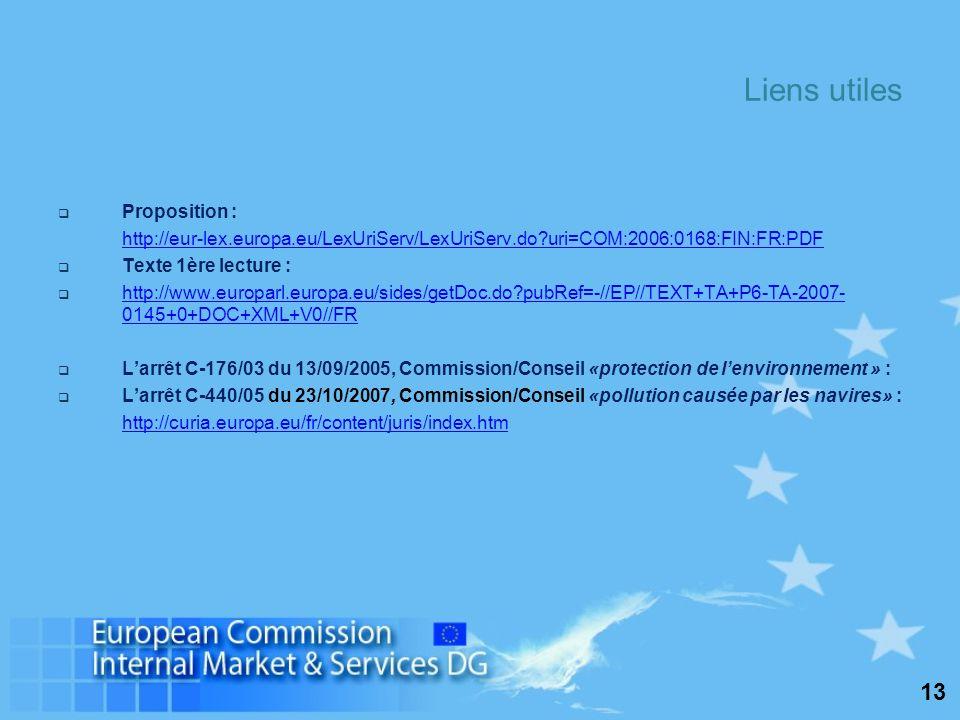 13 Liens utiles Proposition : http://eur-lex.europa.eu/LexUriServ/LexUriServ.do uri=COM:2006:0168:FIN:FR:PDF Texte 1ère lecture : http://www.europarl.europa.eu/sides/getDoc.do pubRef=-//EP//TEXT+TA+P6-TA-2007- 0145+0+DOC+XML+V0//FR http://www.europarl.europa.eu/sides/getDoc.do pubRef=-//EP//TEXT+TA+P6-TA-2007- 0145+0+DOC+XML+V0//FR Larrêt C-176/03 du 13/09/2005, Commission/Conseil «protection de lenvironnement » : Larrêt C-440/05 du 23/10/2007, Commission/Conseil «pollution causée par les navires» : http://curia.europa.eu/fr/content/juris/index.htm