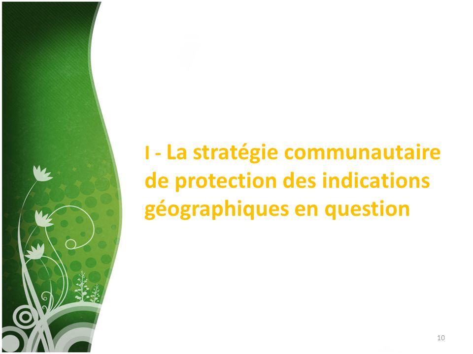 I - La stratégie communautaire de protection des indications géographiques en question 10