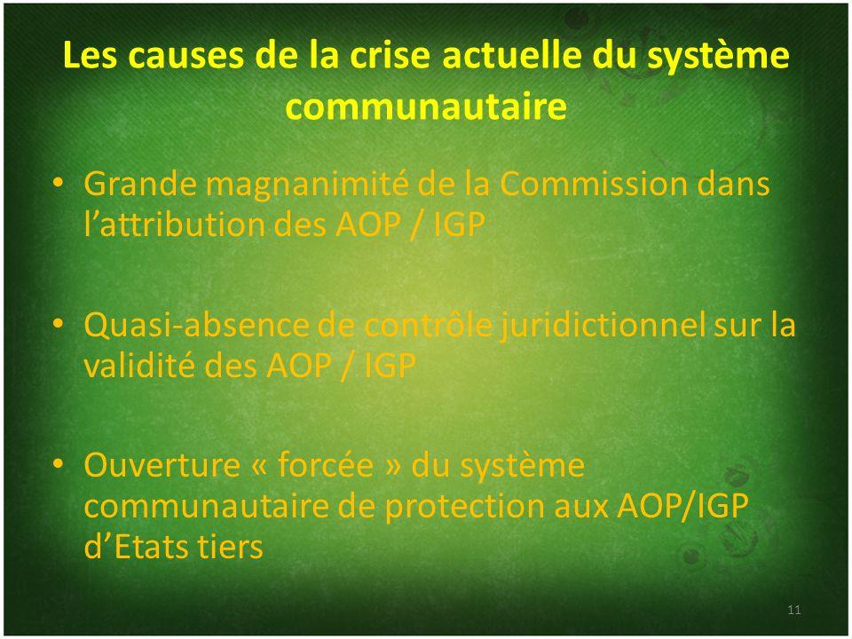 Les causes de la crise actuelle du système communautaire Grande magnanimité de la Commission dans lattribution des AOP / IGP Quasi-absence de contrôle