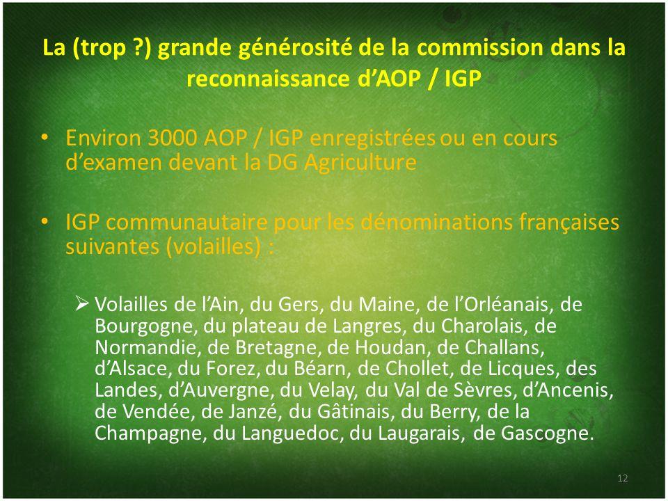 La (trop ?) grande générosité de la commission dans la reconnaissance dAOP / IGP Environ 3000 AOP / IGP enregistrées ou en cours dexamen devant la DG