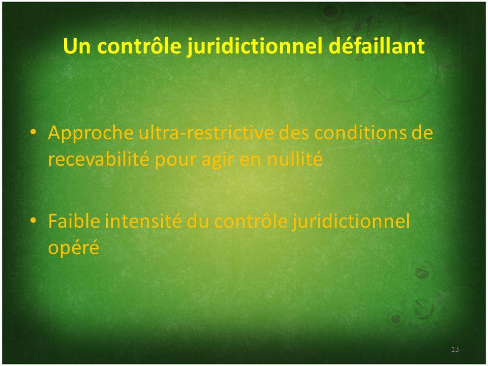 Un contrôle juridictionnel défaillant Approche ultra-restrictive des conditions de recevabilité pour agir en nullité Faible intensité du contrôle juri