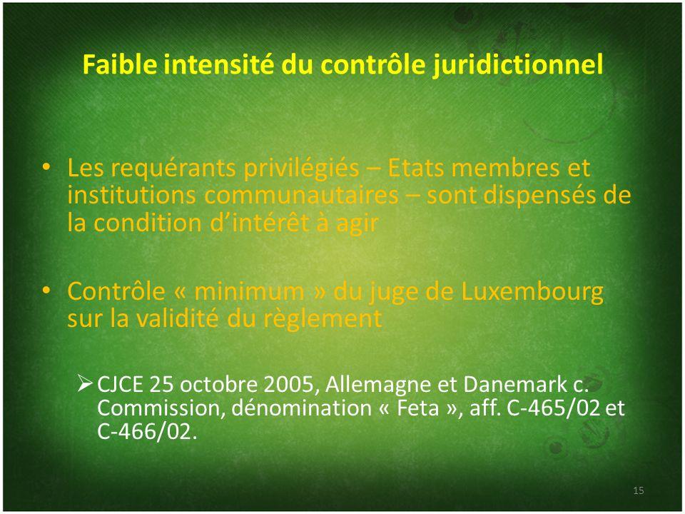 Faible intensité du contrôle juridictionnel Les requérants privilégiés – Etats membres et institutions communautaires – sont dispensés de la condition