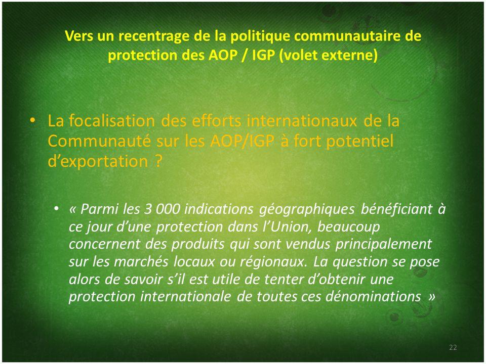 Vers un recentrage de la politique communautaire de protection des AOP / IGP (volet externe) La focalisation des efforts internationaux de la Communau