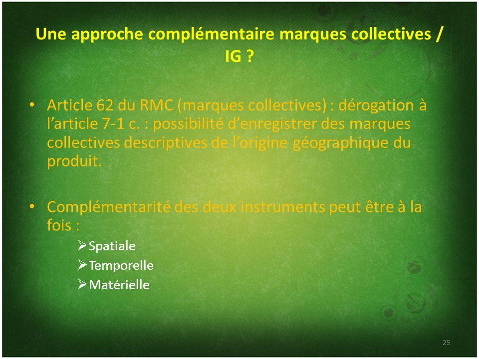 Une approche complémentaire marques collectives / IG ? Article 62 du RMC (marques collectives) : dérogation à larticle 7-1 c. : possibilité denregistr
