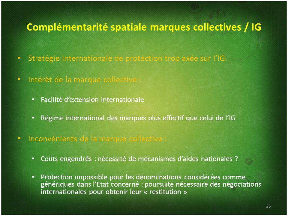 Complémentarité spatiale marques collectives / IG Stratégie internationale de protection trop axée sur lIG. Intérêt de la marque collective : Facilité