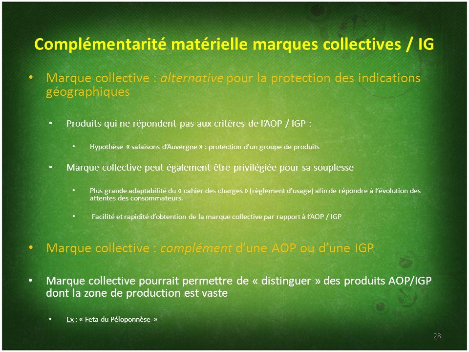 Complémentarité matérielle marques collectives / IG Marque collective : alternative pour la protection des indications géographiques Produits qui ne r