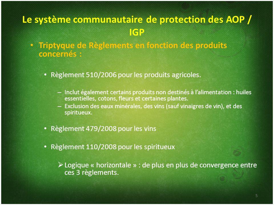 Le système communautaire de protection des AOP / IGP Triptyque de Règlements en fonction des produits concernés : Règlement 510/2006 pour les produits