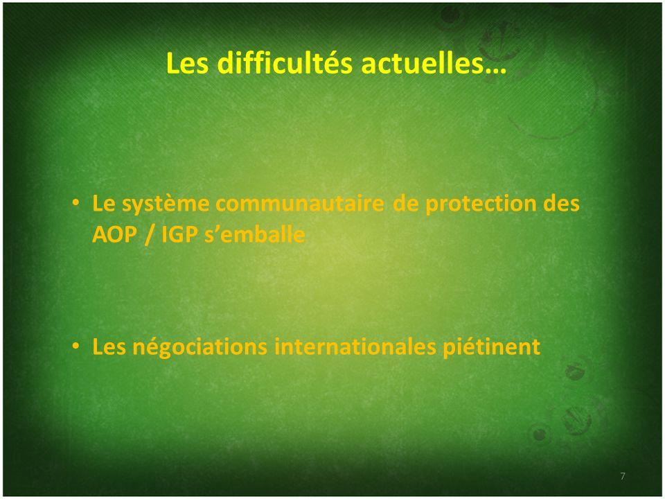Les difficultés actuelles… Le système communautaire de protection des AOP / IGP semballe Les négociations internationales piétinent 7