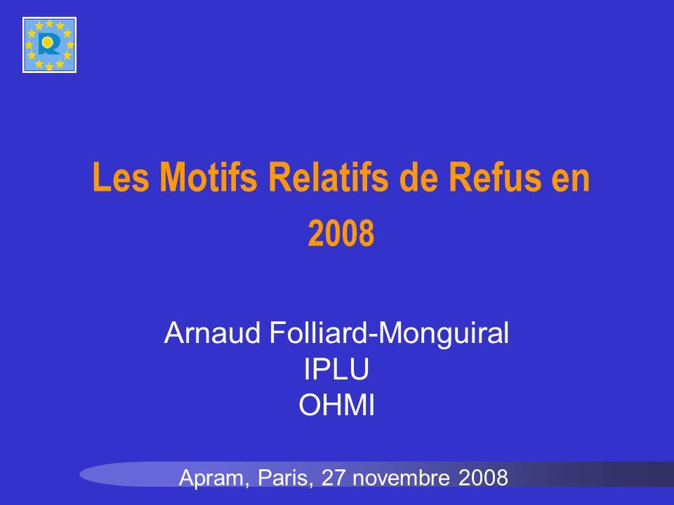Les Motifs Relatifs de Refus en 2008 Apram, Paris, 27 novembre 2008 Arnaud Folliard-Monguiral IPLU OHMI