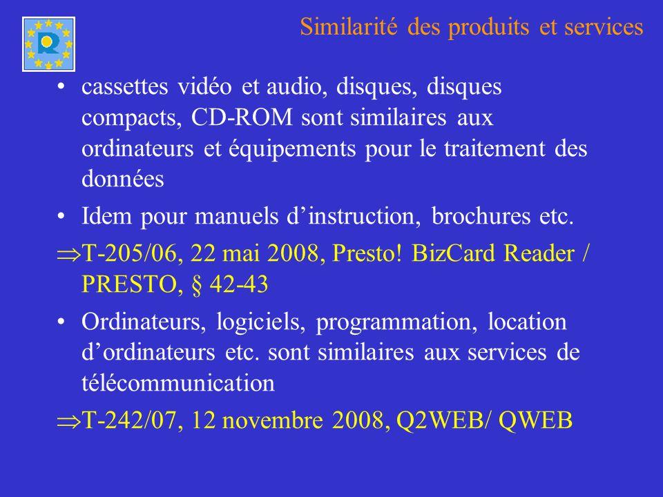 Similarité des produits et services cassettes vidéo et audio, disques, disques compacts, CD-ROM sont similaires aux ordinateurs et équipements pour le traitement des données Idem pour manuels dinstruction, brochures etc.