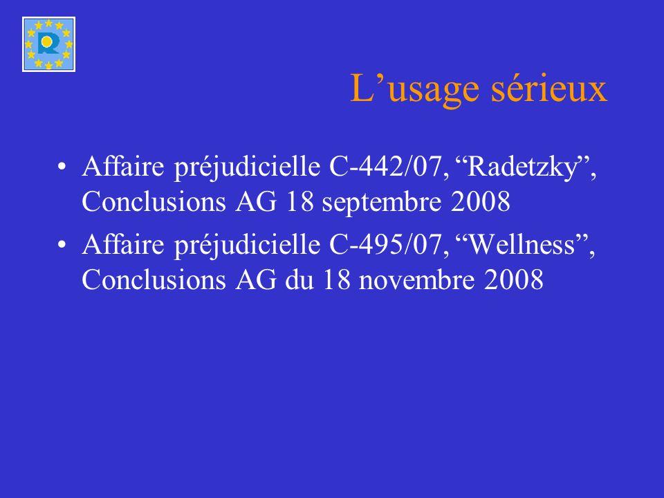 Lusage sérieux Affaire préjudicielle C-442/07, Radetzky, Conclusions AG 18 septembre 2008 Affaire préjudicielle C-495/07, Wellness, Conclusions AG du 18 novembre 2008